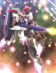 battle explosion gunpod hiro_(hibikigaro) macross macross_frontier mecha realistic s.m.s. science_fiction space star_(sky) vf-25