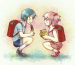 2girls androgynous backpack bag blue_hair closed_eyes hair_bobbles hair_ornament kaname_madoka kirikuchi_riku mahou_shoujo_madoka_magica miki_sayaka multiple_girls pink_eyes pink_hair randoseru short_hair short_twintails shorts squatting tears twintails young