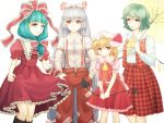 4girls aqua_eyes aqua_hair ascot bow flandre_scarlet frills front_ponytail fujiwara_no_mokou grey_hair hair_bow hair_ornament hair_ribbon hands_in_pocket holding kagiyama_hina kazami_yuuka long_hair long_sleeves marydill multiple_girls open_mouth open_vest plaid plaid_skirt red_eyes ribbon shirt short_hair short_sleeves side_ponytail skirt skirt_set smile suspenders touhou umbrella very_long_hair vest white_background