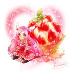 blush character_name choker cure_passion dress food fresh_precure! fruit hair_ornament heart higashi_setsuna kuzumochi long_hair magical_girl pantyhose pink_hair precure red_eyes strawberry