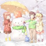 3girls :d ^_^ akaza_akari black_hair blonde_hair boots child closed_eyes double_bun earmuffs funami_yui hair_bun jacket kuma_(happylocation) long_hair mittens multiple_girls open_mouth redhead scarf shoes short_hair shovel skirt smile snow snowman toque toshinou_kyouko umbrella winter worktool yuru_yuri