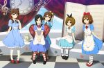 5girls alice_(wonderland) alice_(wonderland)_(cosplay) alice_in_wonderland black_hair book brown_hair chair clock dress extra hirasawa_yui k-on! kinoshita_shizuka long_hair multiple_girls oversized_object satou_akane shian_(my_lonly_life.) short_hair taki_eri tea_set wakaouji_ichigo