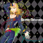 1boy argyle argyle_background blonde_hair blue_eyes character_name giorno_giovanna hair_down hajime_(tigris) jojo_no_kimyou_na_bouken long_hair solo thorns vines