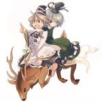 2girls animal deer dress ghost_tail green_hair grey_hair hat mononobe_no_futo multiple_girls nakatani pointing riding short_hair silver_hair simple_background skirt smile soga_no_tojiko tate_eboishi touhou white_background