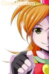 1girl brown_eyes bust cure_bloom fingerless_gloves futari_wa_precure_splash_star gloves grin hairband heart hyuuga_saki long_hair nishi_koutarou orange_hair precure smile solo