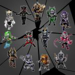 1girl 6+boys belt cape claws female gun horn kamen_rider kamen_rider_femme kamen_rider_gai kamen_rider_imperer kamen_rider_knight kamen_rider_odin kamen_rider_ouja kamen_rider_raia kamen_rider_ryuga kamen_rider_ryuki kamen_rider_ryuki_(series) kamen_rider_scissors kamen_rider_tiger kamen_rider_verde kamen_rider_zolda male maru_(pixiv587569) mask multiple_boys shield staff sword weapon whip
