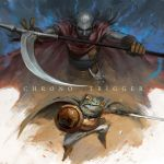 cape chrono_trigger frog gloves kaeru_(chrono_trigger) long_hair magus miyazaki pointy_ears purple_hair scythe shield sword weapon