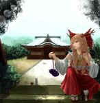 1girl arm_up ascot blonde_hair bow brown_eyes cosplay detached_sleeves east_asian_architecture eyelashes forest geta gourd hair_bow hakurei_reimu hakurei_reimu_(cosplay) highres horn_ribbon horns ibuki_suika lens_flare lips long_hair looking_away momose_chiaki mountain nature parted_lips path plant potted_plant realistic ribbon road sakazuki shrine sitting solo tabi tokkuri touhou very_long_hair