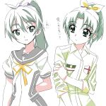 2girls bow green_eyes green_hair hair_bow long_hair look-alike midorikawa_nao multiple_girls ponytail precure saegusa_wakaba school_uniform smile_precure! star tonbi translation_request vividred_operation