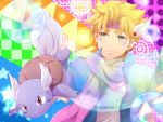 1boy blonde_hair blue_jacket bubble caesar_anthonio_zeppeli colorful crossover facial_mark feathers green_eyes headband jacket jojo_no_kimyou_na_bouken multiple_boys pokemon scarf sekai7424 wartortle