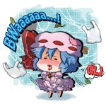 1girl :3 :d bag bat_wings bloomers blue_hair blush bow brooch chibi closed_eyes detached_wings dress english hat hat_bow jewelry leaf lipstick makeup mini_wings minigirl noai_nioshi open_mouth plastic_bag remilia_scarlet ribbon smile solo touhou underwear wind wings