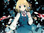 1girl blonde_hair bubble fish green_eyes koi marble rugo school_uniform solo tamako_market tokiwa_midori water
