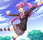 1girl blue_eyes hair_bobbles hair_ornament little_busters! long_hair miyai_max outstretched_arms purple_hair saigusa_haruka school_uniform side_ponytail spread_arms striped striped_legwear thigh-highs