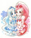 2girls blue_eyes blue_hair cure_blossom cure_marine dress hair_ornament hanasaki_tsubomi heart heartcatch_precure! kurumi_erika long_hair magical_girl multiple_girls open_mouth pink_eyes pink_hair ponytail precure ribbon ryun smile traditional_media wrist_cuffs