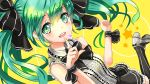 1girl bow bowtie green_eyes green_hair hair_bow hatsune_miku heart highres kanipanda looking_at_viewer skirt solo thigh-highs twintails vertical-striped_legwear vertical_stripes vocaloid