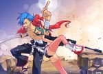 1boy 1girl anti-materiel_rifle arm_up back-to-back belt bikini_top blue_hair boots breasts fingerless_gloves gloves grin gun hair_ornament kamina nonosaki pink_legwear pointing ponytail red_eyes redhead rifle sandals sarashi scarf shirtless short_shorts shorts skull_hair_ornament smile sniper_rifle sword tattoo tengen_toppa_gurren_lagann thigh-highs under_boob weapon yellow_eyes yoko_littner