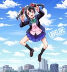 1girl \m/ black_hair blazer blush bow clouds fuugetsu_makoto hair_bow jumping long_hair looking_at_viewer love_live!_school_idol_project open_mouth red_eyes school_uniform skirt sky smile solo twintails yazawa_nico