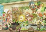 1girl amoonguss apron baseball_cap bellossom bellsprout blue_eyes boots brown_hair bucket cacnea carrying cherrim cherubi denim denim_shorts exeggcute exeggutor foongus hat high_ponytail hoppip lilligant oddish pansage pokemon pokemon_(game) pokemon_bw psyduck roselia seedot sewaddle shop shorts shroomish skiploom snivy squirt_bottle squirtle sudowoodo sunflora sunkern suzukizukizuki swadloon tangela touko_(pokemon) victreebel wailmer whimsicott wristband