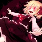 blush darkness fang glowing glowing_eyes open_mouth outstretched_arms razy_(skuroko) red_eyes rumia smile solo touhou