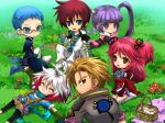 :3 ^_^ asbel_lhant basket blanket blue_eyes blue_hair blush_stickers bodysuit brooch brown_eyes brown_hair cheria_barnes chibi closed_eyes coat flower food glasses gloves grass hubert_ozwell jewelry kirita_(noraring) kneeling looking_back lying malik_caesars mouth_hold multicolored_hair outdoors outstretched_arms pascal picnic pink_hair purple_hair redhead scarf short_twintails shorts sitting skirt smile sophie_(tales_of_graces) spread_arms tales_of_(series) tales_of_graces thigh-highs twintails two-tone_hair two_side_up violet_eyes white_hair white_legwear