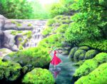 1girl acrylic_paint_(medium) bow dress forest frills green_hair hair_bow hair_ornament hair_ribbon kagiyama_hina kawachi_koorogi nature red_dress reflection ribbon scenery short_sleeves solo standing touhou traditional_media tree water waterfall