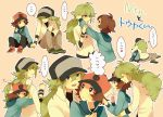 2boys blush brown_hair green_hair holding_hands hug long_hair multiple_boys n_(pokemon) pink_usagi pokemon pokemon_(game) pokemon_bw sweat tears touya_(pokemon) yaoi
