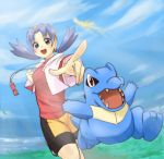 1girl bike_shorts blue_hair crystal_(pokemon) grass hat ho-oh kimagureamrock open_mouth perspective pokemon pokemon_(creature) pokemon_(game) pokemon_gsc shining totodile twintails