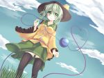 1girl black_legwear blush clouds east01_06 eyeball grass green_eyes green_hair hat hat_ribbon heart heart_of_string komeiji_koishi ribbon short_hair skirt sky smile solo thigh-highs third_eye touhou