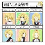 alternate_hair_length alternate_hairstyle blonde_hair charlotte_dunois forehead hair_bobbles hair_down hair_ornament hiyoko_tarou infinite_stratos ponytail reverse_trap school_uniform short_hair side_ponytail track_suit twintails violet_eyes