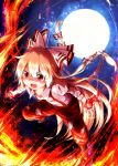 >:d 1girl :d ayakashi_(monkeypanch) bow fang fire fujiwara_no_mokou full_moon hair_bow highres long_hair moon open_mouth pants silver_hair smile solo suspenders touhou very_long_hair