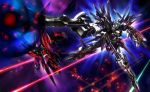 battle beam exexbein galilnagant glowing gun highres jian_huang mecha no_humans rifle space super_robot_wars sword the_2nd_super_robot_wars_og weapon