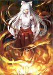 1girl bamboo benitama bird bow fire fujiwara_no_mokou hair_bow long_hair looking_at_viewer ofuda phoenix smile solo suspenders touhou white_hair yellow_eyes