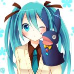 1girl aqua_eyes aqua_hair blush goma_(11zihisin) hand_puppet hatsune_miku long_hair necktie puppet solo twintails vocaloid wink