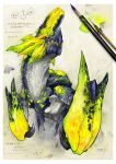 brachydios glowing glowing_eyes monster monster_hunter paint paintbrush red_eyes ryuuta_(ipse) sharp_teeth solo