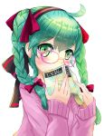 1girl ahoge blush book braid glasses green_eyes green_hair hair_ribbon hands hatsune_miku kanipanda long_hair ribbon solo sweater twin_braids twintails vocaloid
