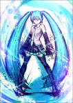 1girl 39 2013 aqua_eyes aqua_hair artist_name dated detached_sleeves hatsune_miku headset kei-suwabe long_hair necktie skirt solo thigh-highs twintails very_long_hair vocaloid