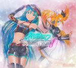2girls aqua_hair artist_name belt blonde_hair boots character_name choker detached_sleeves dress elbow_gloves fingerless_gloves fishnet_pantyhose fishnets gloves green_eyes guitar hair_ornament hairclip hat hatsune_miku headset instrument kagamine_rin legwear_under_shorts long_hair mayo_riyo midriff multiple_girls navel pantyhose project_diva project_diva_f shorts thigh-highs thigh_boots traditional_media very_long_hair vocaloid