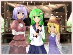 3girls alternate_costume anata_(lighttuner) blonde_hair breasts cherry_blossoms diploma dress frog_hair_ornament green_hair hair_ornament hair_tubes hat kochiya_sanae lavender_hair leaf_hair_ornament long_hair long_sleeves looking_at_viewer mirror moriya_suwako multiple_girls path road school_uniform serafuku shimenawa short_hair shrine smile touhou transparent v violet_eyes yasaka_kanako yellow_eyes