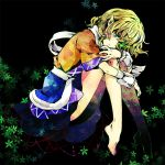 1girl barefoot blonde_hair flower glowing glowing_eyes green_eyes hair_over_one_eye leg_hug mizuhashi_parsee pointy_ears short_hair solo torii_sumi touhou