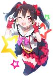 1girl black_hair blush bow earrings fingerless_gloves gloves gochou_(comedia80) hair_bow jewelry looking_at_viewer love_live!_school_idol_project open_mouth red_eyes short_hair skirt smile solo thigh-highs twintails wink yazawa_nico