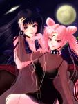 2girls bishoujo_senshi_sailor_moon black_hair black_lady chibi_usa choker chona crescent_moon double_bun dress facial_mark forehead_mark full_moon gem lipstick long_hair makeup mistress_9 moon multiple_girls pearl pink_hair see-through short_dress star tomoe_hotaru twintails