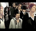 basil_hawkins black_hair capone_gang_bege cigar eustass_captain_kid exb formal hat headphones jewelry_bonnie killer_(one_piece) long_hair one_piece redhead scar scratchmen_apoo smoking suit sunglasses trafalgar_law urouge x_drake