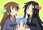 3girls akiyama_mio black_eyes black_hair blue_eyes blush brown_eyes brown_hair k-on! left-handed long_hair multiple_girls naganohara_mio namesake nichijou open_mouth school_uniform short_hair smile