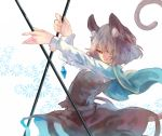 1girl animal_ears capelet dowsing_rod gem grey_hair jewelry kotaro-nosuke long_sleeves mouse_ears mouse_tail nazrin necklace pendant red_eyes shirt skirt skirt_set smirk solo tail touhou vest