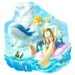 1boy 1girl alternate_costume beach brown_hair castform clouds flying haruka_(pokemon) hat horsea luvdisc marill marshtomp milotic ocean pelipper perspective pokemon pokemon_(game) pokemon_rse san_(tinami) sky summer swablu tinami wailord water wingull wink yuuki_(pokemon)