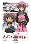 apron blush cardigan chocolate glasses hooded_jacket jacket kyon maguta mixing_bowl nagato_yuki scarf school_uniform serafuku suzumiya_haruhi_no_yuuutsu thought_bubble