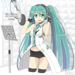 1girl 39 2013 character_name dated fingerless_gloves gloves green_eyes green_hair hands_on_headphones hatsune_miku headphones highres kimura_tatsuki long_hair looking_at_viewer microphone navel necktie open_mouth piano_print short_shorts shorts solo thigh-highs twintails very_long_hair vocaloid