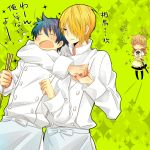 1girl 2boys blonde_hair blue_hair chef chopsticks closed_eyes flower flower_on_head hair_over_one_eye kurata_(mosupyon) multiple_boys satou_jun short_hair souma_hiroomi strangling todoroki_yachiyo translation_request working!!