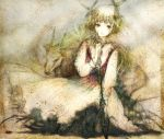 1girl animal blonde_hair cross goat green_eyes hair_ornament kneeling original short_hair solo sugi thigh-highs