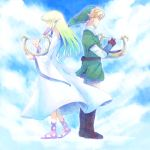 back-to-back blonde_hair bracelet closed_eyes earrings gloves harp hat instrument jewelry link long_hair nintendo pointy_ears princess_zelda saiba_(henrietta) sky skyward_sword smile the_legend_of_zelda